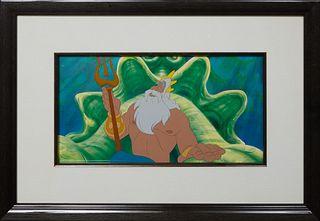 "Walt Disney Studios Animation Cel, ""The Little Mermaid,"" 1989, original production cel, Walt Disney stamp lower right, with Disney Enterprises certifi"
