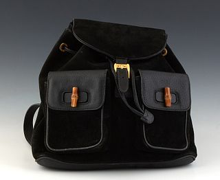 Gucci Bamboo GM Backpack, in black calf leather and suede, with bamboo accents and gold hardware, opening to a black leather interior, H.- 12 in., W.-
