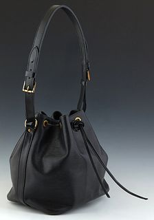 Louis Vuitton Black Epi Noe PM Shoulder Bag, in a black epi leather, with black leather straps and golden brass hardware, opening to a black line inte