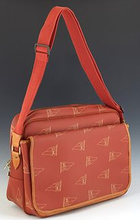 Louis Vuitton Calvi Shoulder Bag, in a red LV Cup Monogram coated canvas, with vachetta leather and golden brass hardware, with a beige lined coated c