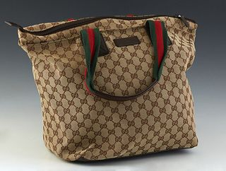 Gucci Large Web Handle Tote, in beige monogram canvas with green and red canvas handles and silver hardware, opening to a dark brown canvas lined inte