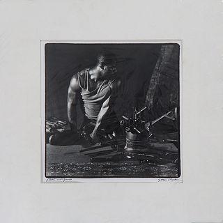 "George Valentine Dureau (1930-2014, New Orleans), ""Flesh and Guns,"" 20th c., silver gelatin print, pen titled lower left margin, pen signed lower righ"