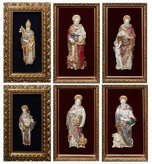 Eugenio Pattarino (1885-1971, Italian), Group of Six Polychromed Ceramic Figures of Male Saints, 20th c., each presented in a gilt shadowbox frame wit