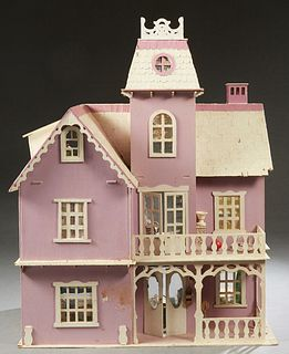 Large Child's Doll House, 20th c., with mansard rooves and ten rooms of furniture, H.- 39 in., W.- 29 1/2 in., D.- 15 1/2 in.