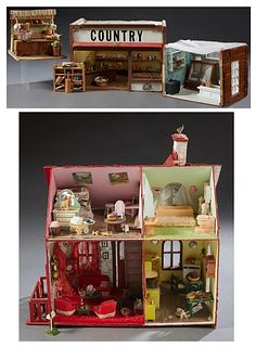 Small Child's Doll House, 20th c., with four rooms of furniture, together with a diorama of a bakery, a vegetable stand, and a Country Store, House- H
