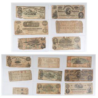 Fifteen Pieces of Civil War Paper Money, 19th c., consisting of a Louisiana $5 bill, 1863; a Louisiana Bond Coupon, 1864; a CSA $1 bill, 1862, Richmon