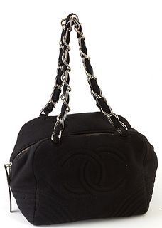 """Chanel Black Canvas Logo Tote, c. 2004, with silver interlaced chain and black canvas handles, the interior of the bag lined in """"CHANEL"""" black canvas,"""