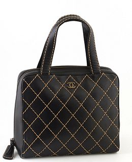 Chanel Black Calf Leather GM Wild Stitch Bowling Bag, c. 2000, with double black leather handles and gold hardware, the interior of the bag lined in b