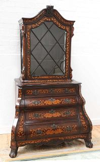 A Dutch marquetry cabinet on chest,