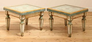 A pair of Continental painted wood low tables,