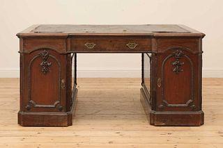A George III-style walnut partners' desk,