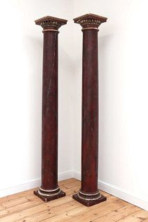 A pair of imitation rouge marble painted pine Tuscan columns,