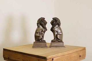 A pair of steel fire irons in the form of lions,