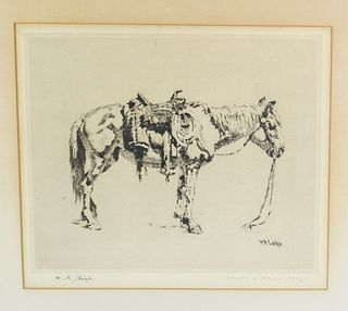 William Robinson Leigh Etching of Horse