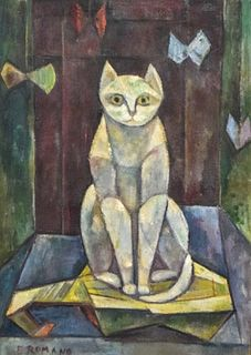 Emanuel Glicenstein Romano Oil on Canvas Cat