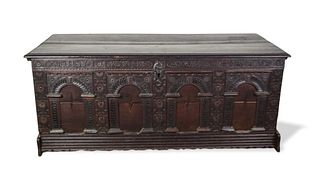 18th Century Carved German Blanket Chest