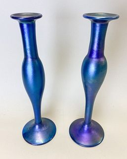 Pair of L.C. Tiffany Favrile Style Candlesticks