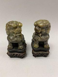 Pair of Carved Jade Foo Lions