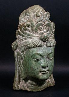 Chinese Carved Hardstone Bodhisattva Guaynin Head