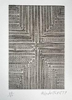 Genichiro Inokuma Cross Etching on Paper 1979