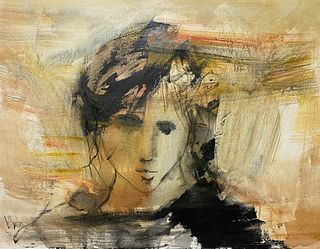 Gino Hollander Oil On Canvas Portrait Of A Woman