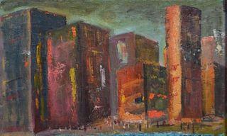Signed Oil on Burlap Canvas Cityscape