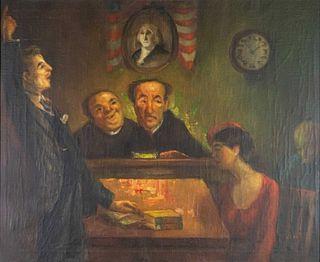 Jack Levitz Oil on Canvas Courtroom Scene