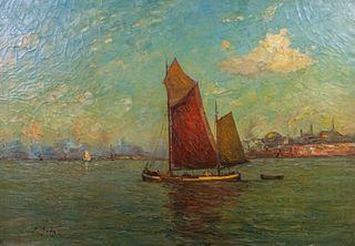 Rudolf Anton Guba Oil on Canvas View of Bosphorus
