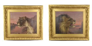 Pair of Ralph Bowen Lion and Lioness Paintings