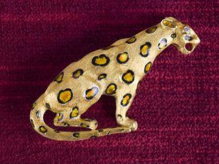 18k Gold Leopard Brooch