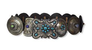 Native American Sterling & Stone Concho Belt