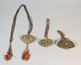 Grouping of Tibetan Leather Flint Pouches