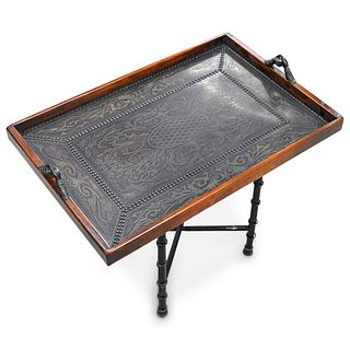 Maitland Smith Leather Embossed Tray with Stand