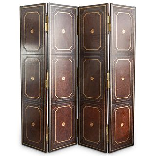 Large Possibly Maitland Smith Leather Wrapped Screen