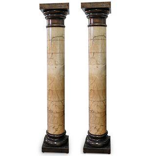 Pair Of Large Alabaster Columns