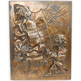 Salvador Dali (Spanish, 1904-1989) Ten Commandments Bronze Plaque