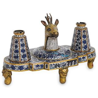 19th Ct. Cloisonne Deer Inkwell