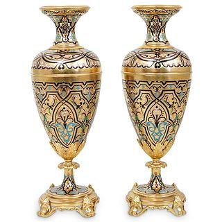 Pair of French Champleve Enamel & Gilt Bronze Vases
