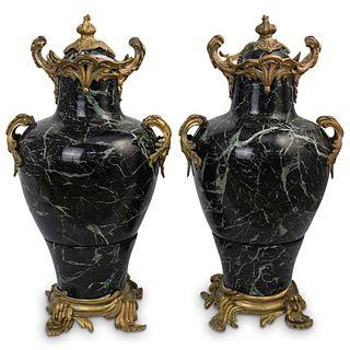 Pair Of Marble & Gilt Bronze Urns