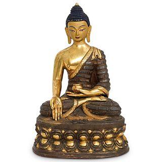 Tibetan Gilt Bronze Seated Buddha on Lotus