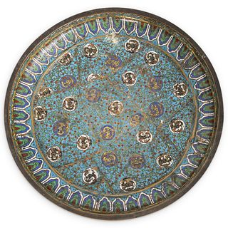 Antique Chinese Bronze Cloisonne Charger Plate