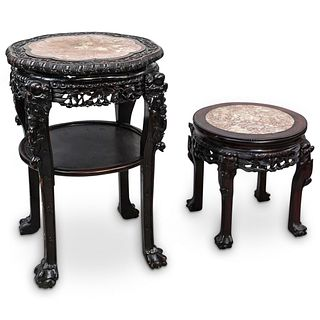 (2Pc) Chinese Stone Inlaid Marble Wood Tables