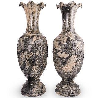 Pair Of Large Oriental Carved Marble Vases