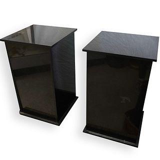 (2 Pc) Lalique Black Marble Pedestals