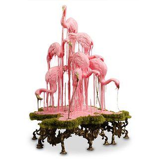 """Sarah Knouse (American) """"Pastoral Flamingos"""" Sculpture"""