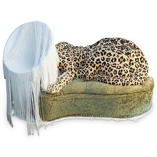 "Sarah Knouse (American) ""Leopard Lamp"" Sculpture"