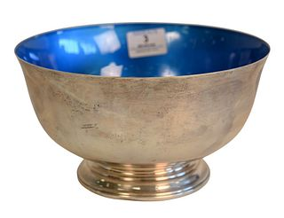 Towle Sterling Silver Revere Style Bowl, with enameled interior, diameter 8 1/2 inches, 20.2 t.oz. Provenance: Waterfront Estate, Stamford, CT.