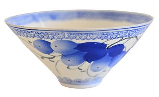 Chinese Egg Shell Porcelain Bowl, with blue fruit motif in fitted box, diameter 4 inches. Provenance: The Estate of Alan Gans, Mulberry Point, Guilfor