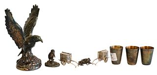 Silver Curio Lot, having an eagle, three shot glasses, a frog, a bird and two coaches.