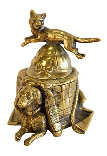 Brass Inkwell, having fox jumping over a hat and a dog under a blanket, height 3 1/2 inches.